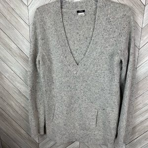 J Crew Wool Mohair Angora pouch pocket sweater. Md